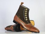 Bespoke Two Tone Cap Toe Button Top Leather & Suede Boots For Men's