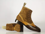 Bespoke Tan & Brown Wing Tip Brogue Leather & Suede Button Top Boots For Men's