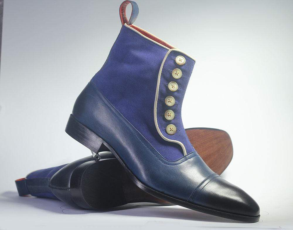 Bespoke Blue Cap Toe Button Top Leather & Suede Boots For Men's