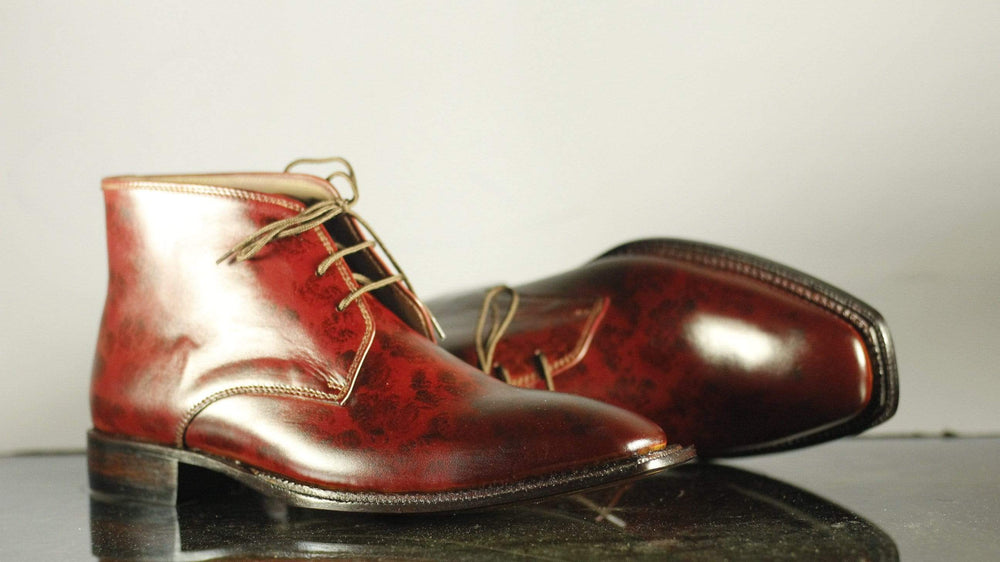 Bespoke Men's Burgundy Chukka Boots, Ankle High Leather Lace Up Boots