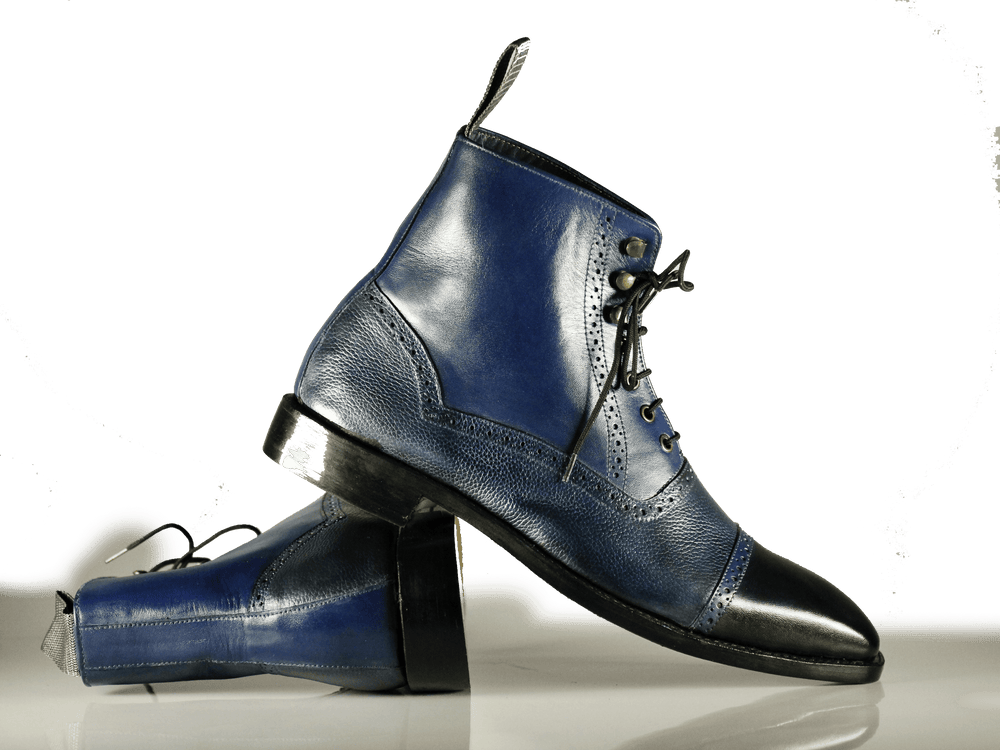 Bespoke Ankle High Navy Cap Toe Dress Formal Lace Up Boots