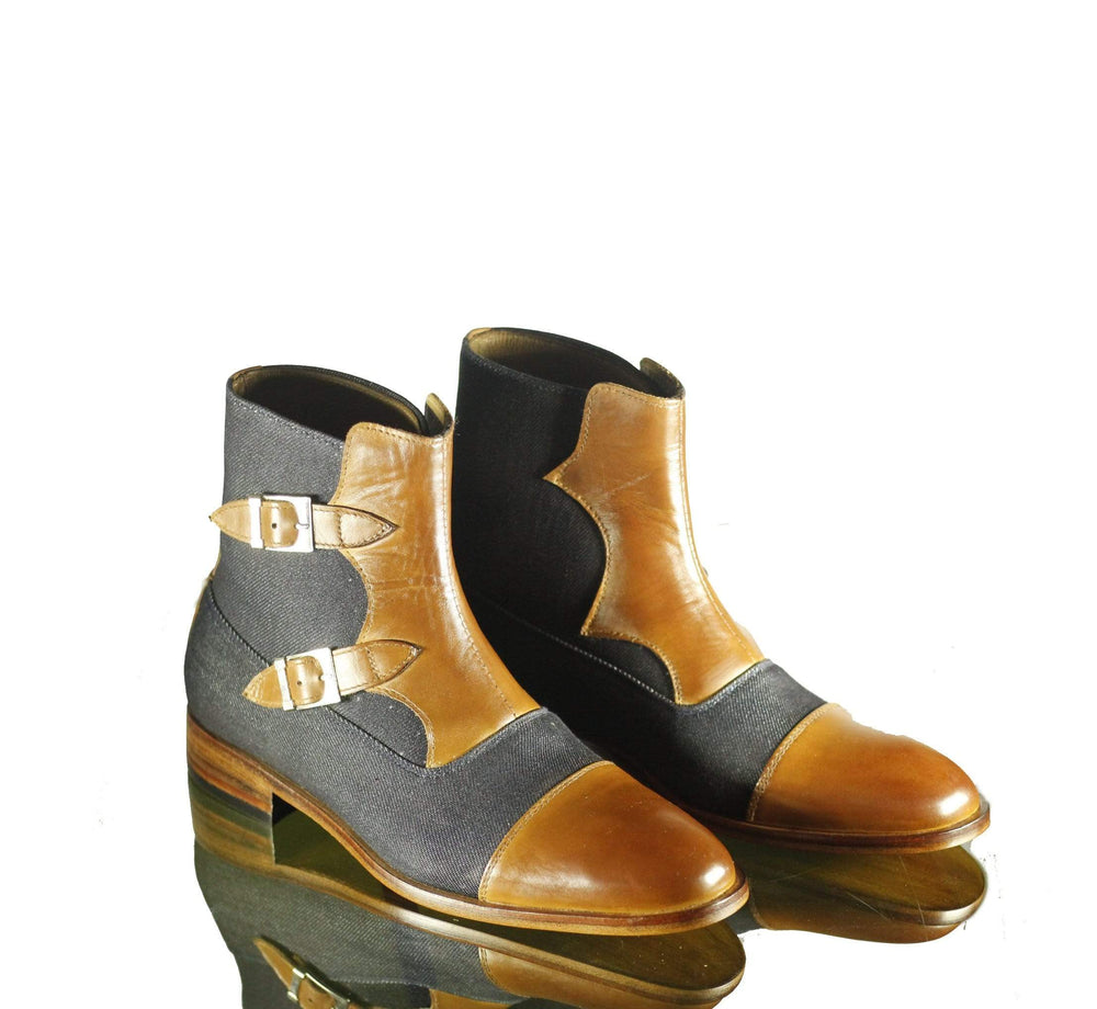 Denim Tan Double Buckle Ankle High Cap Toe Leather Boot