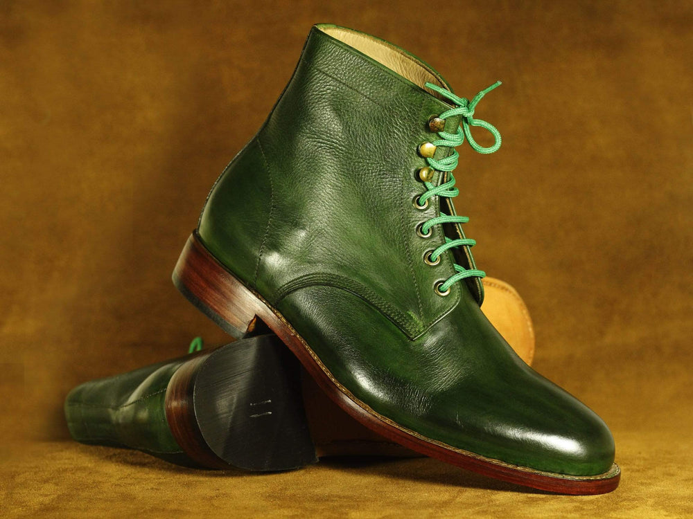 BESPOKESTORES Ankle boots Handmade Green Ankle High Lace Up Leather Boots, Men's Oxford Boot