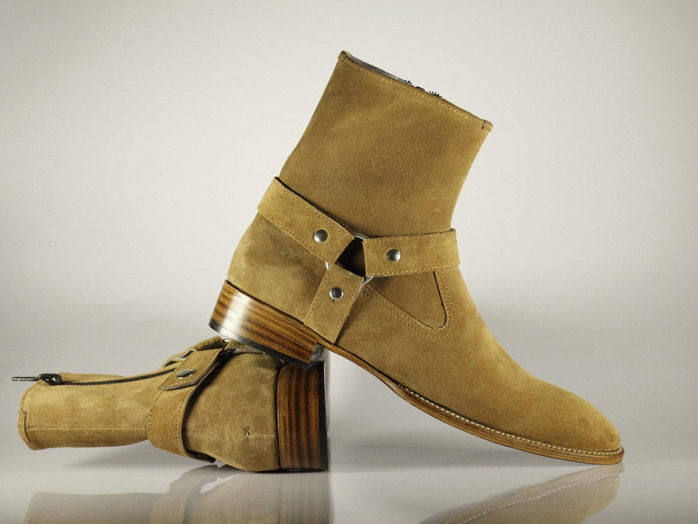 Madrid Style Beige Suede Ankle High Men's Leather Boot