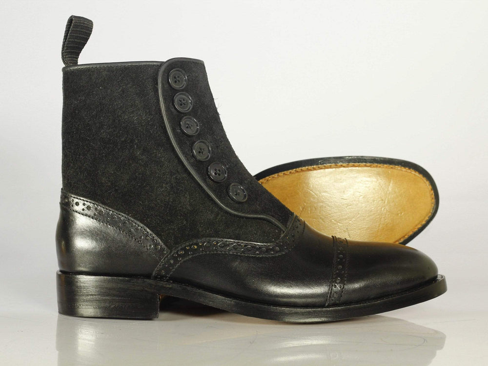 BESPOKESTORES Ankle Boots Men's Bespoke Black Leather Button Top Ankle Boots