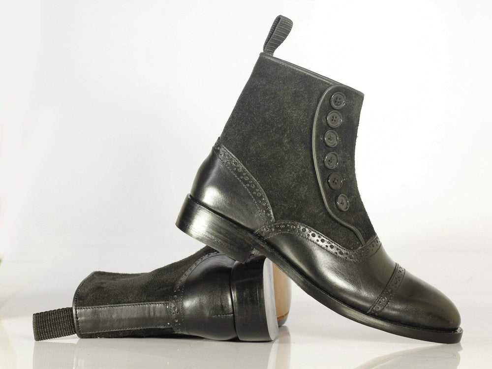Men's Bespoke Black Leather Button Top Ankle Boots