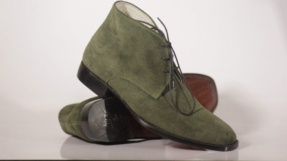 Olive Green Lace Up Suede Chukka Leather Boot
