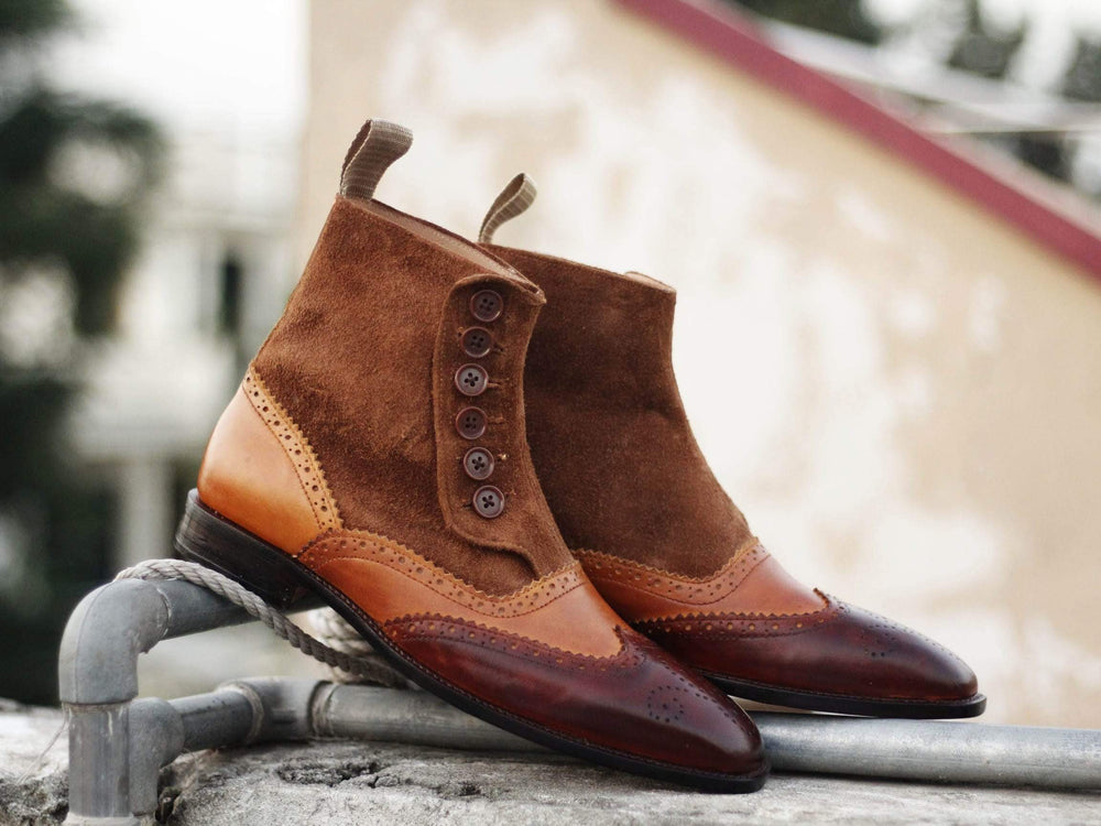 BESPOKESTORES Ankle Boots Wing Tip Burgundy & Tan Leather & Suede Button Top Boots For Men's