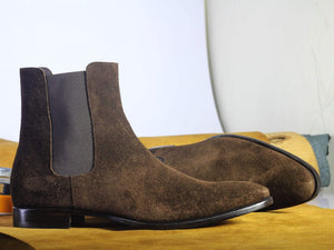 BESPOKESTORES Chelsea Boots Bespoke Brown Suede Ankle Chelsea Boots For Men's