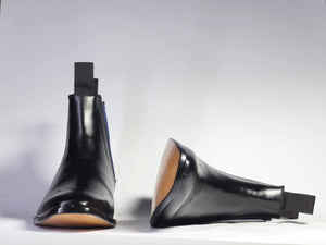 BESPOKESTORES Chelsea Boots Black Chelsea Ankle Leather Boots For Men's