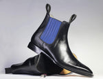 Black Chelsea Ankle Leather Boots For Men's