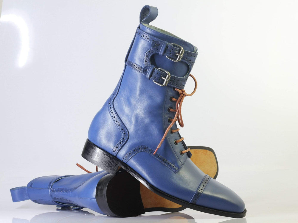 Bespoke Blue Cap Toe Leather Buckle Long Boots For Men's