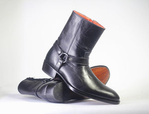 Bespoke Black Buckle Ring Strap Ankle Leather Boots For Men's