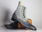 Bespoke Grey Wing Tip Button Top Leather & Suede Boots For Men's
