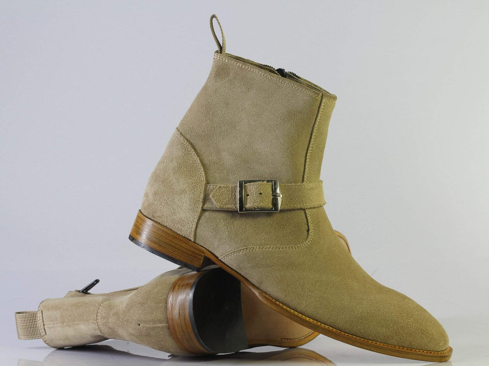 Bespoke Tan Ankle Buckle Suede Boots For Men's
