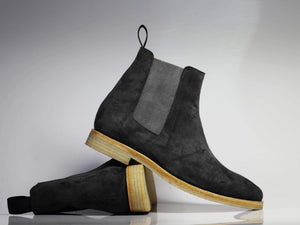 BESPOKESTORES Chelsea Boots Gray Chelsea handmade Suede Boots