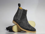 Gray Chelsea handmade Suede Boots