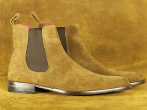 BESPOKESTORES Chelsea Boots Handmade Beige Suede Ankle High Chelsea Boots, Men's Oxford Boot