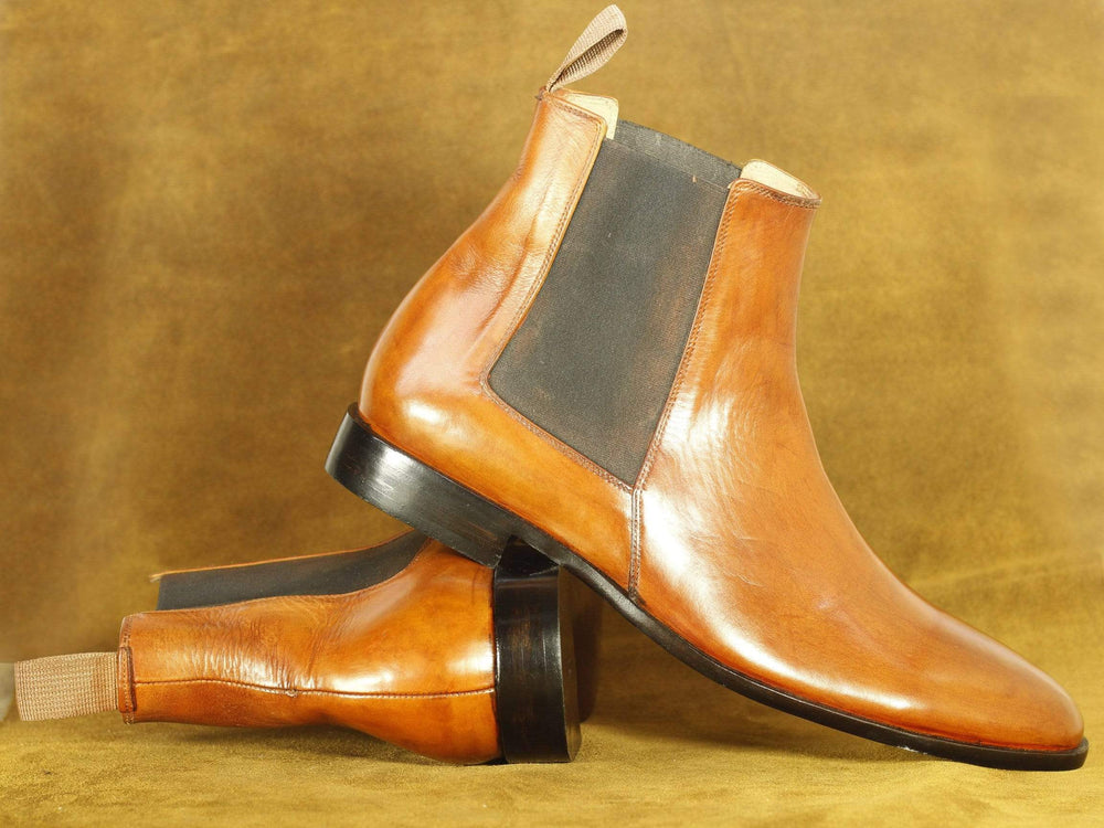 BESPOKESTORES Chelsea Boots Handmade Brown Ankle High Chelsea Boots, Men's Oxford Dress Boot