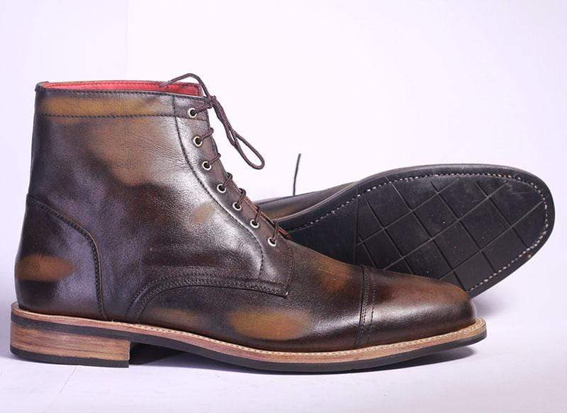 BESPOKESTORES Chelsea Boots Handmade Patina Brown Ankle Boots For Mens