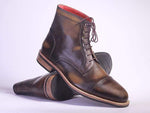 Handmade Patina Brown Ankle Boots For Mens
