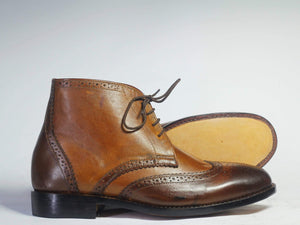 BESPOKESTORES Chukka Boots Brown Two Tone Chukka Leather Leather Ankle Boots