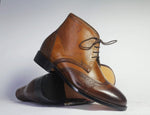 Brown Two Tone Chukka Leather Leather Ankle Boots