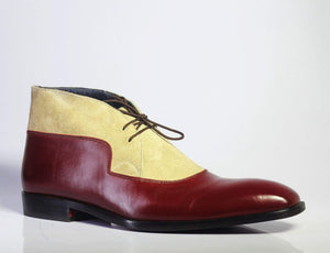 BESPOKESTORES Chukka Boots Burgundy & Beige Leather & Suede Chukka Boots For Men's