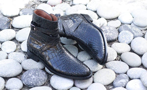 BESPOKESTORES Clothing, Shoes & Accessories:Men's Shoes:Boots Alligator Black Jodhpurs Ankle high Stylish Men's Leather Boot
