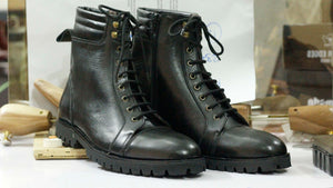 BESPOKESTORES Clothing, Shoes & Accessories:Men's Shoes:Boots Ankle High Black Lace Up Cap Toe Leather Boot