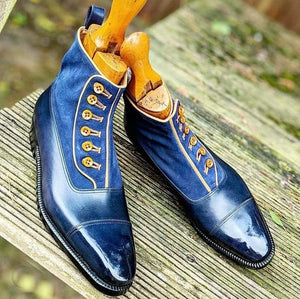 BESPOKESTORES Clothing, Shoes & Accessories:Men's Shoes:Boots Ankle High Blue Button Cap Toe Leather Suede Boot
