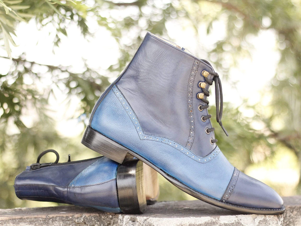 BESPOKESTORES Clothing, Shoes & Accessories:Men's Shoes:Boots Ankle High Blue Two Tone Lace Up Cap Toe Leather Stylish Boot