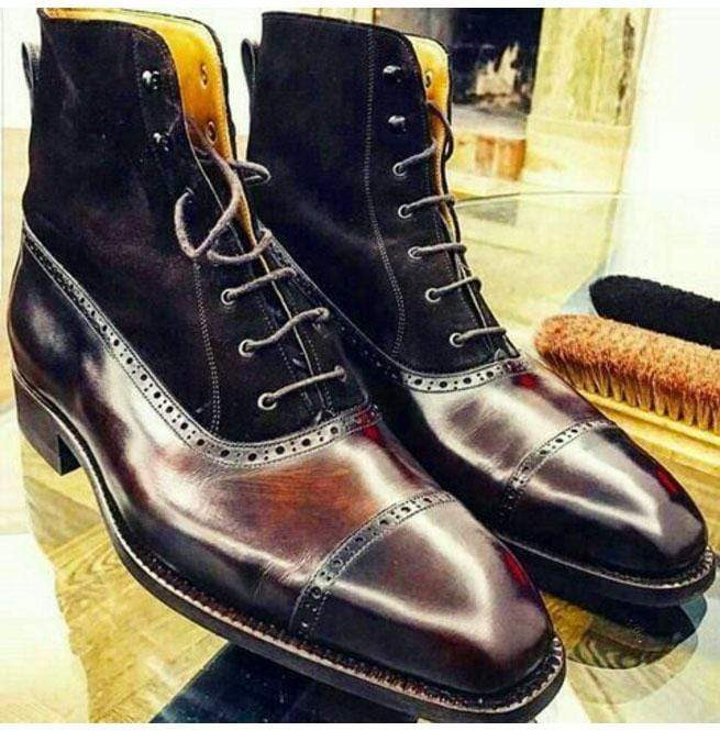 BESPOKESTORES Clothing, Shoes & Accessories:Men's Shoes:Boots Ankle High Cap Toe Cordovan Brogue Lace Up Suede Leather Boot