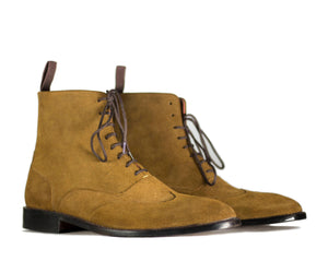 BESPOKESTORES Clothing, Shoes & Accessories:Men's Shoes:Boots Ankle High Lace Up Beige Leather Suede Boot For Men