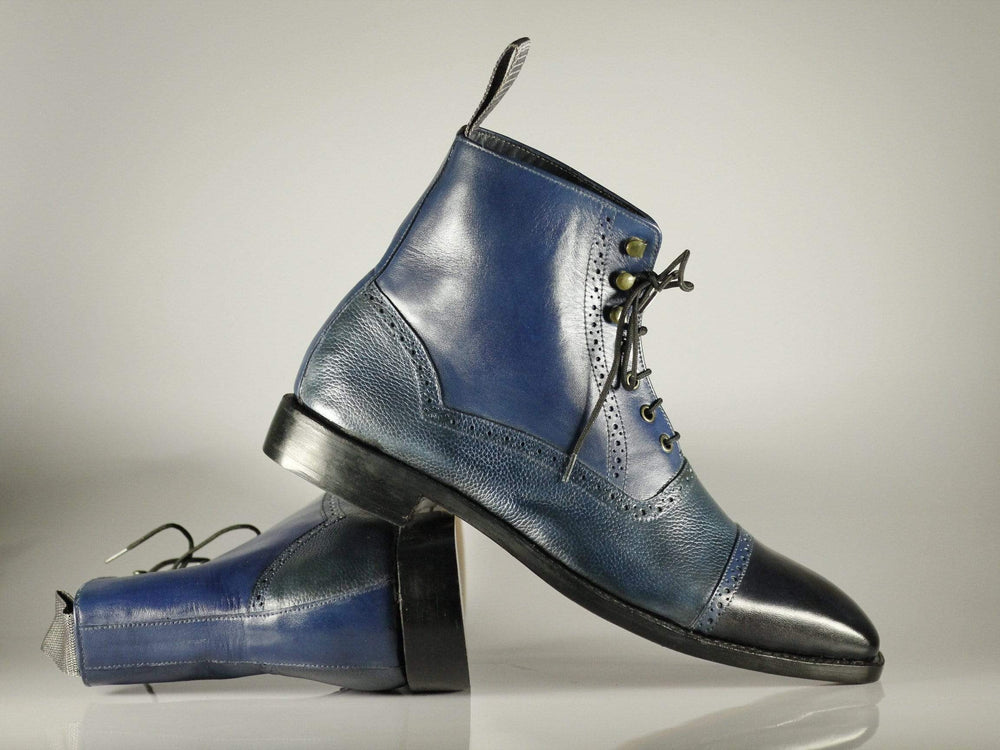 Ankle High Two Tone Blue Black Lace Up Cap Toe Leather Stylish Boot