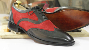 BESPOKESTORES Clothing, Shoes & Accessories:Men's Shoes:Boots Attractive Two Tone Red Black Wing Tip Lace Up Leather Shoes