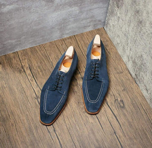 BESPOKESTORES Clothing, Shoes & Accessories:Men's Shoes:Boots Beautiful Blue Leather Suede Lace up Men's Shoes