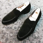 Beautiful Bow Style Round Toe Men Slip On Pure Velvet Black Loafers Moccasin