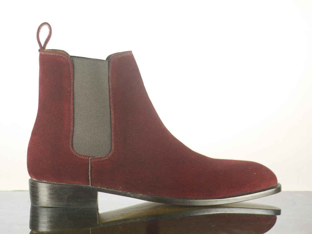 BESPOKESTORES Clothing, Shoes & Accessories:Men's Shoes:Boots Beautiful Burgundy Suede Leather Chelsea Stylish Men's Foot Wear