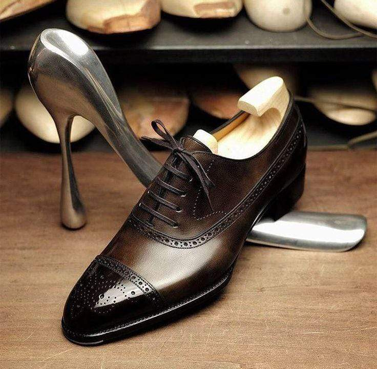 BESPOKESTORES Clothing, Shoes & Accessories:Men's Shoes:Boots Beautiful Cordovan Cap Toe Brogue Lace Up Patent Leather Shoes
