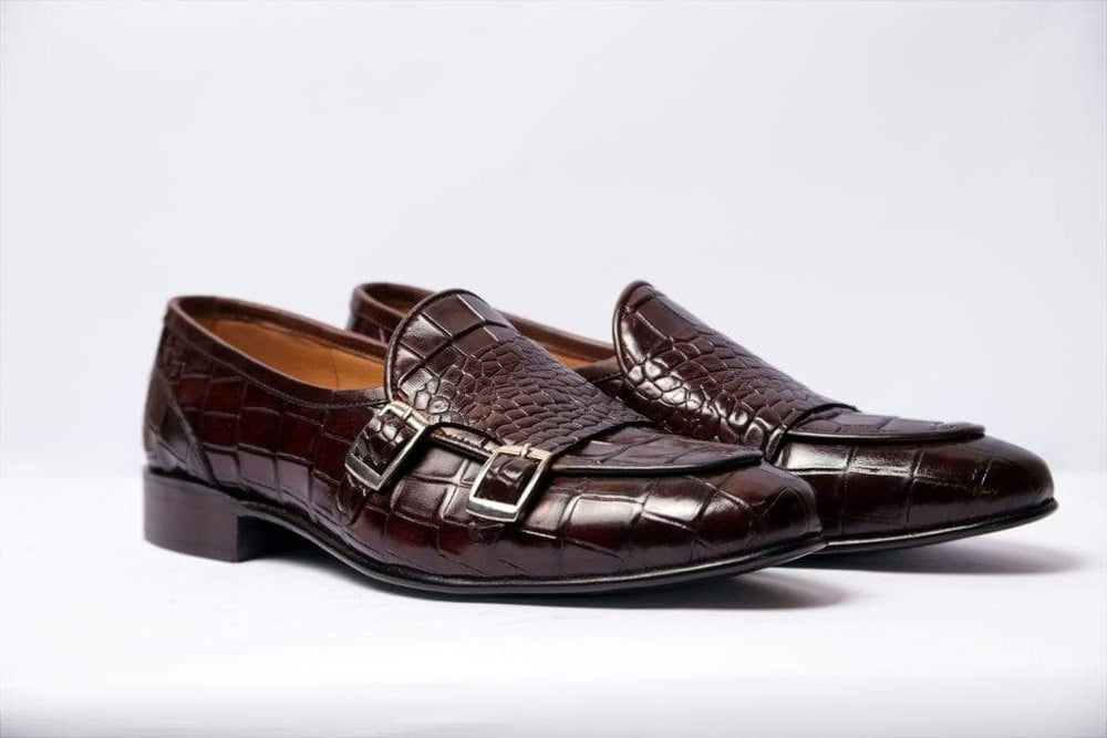 Beautiful Cordovan Double Monk Alligator Texture Loafer Shoes For Men's