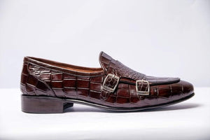 BESPOKESTORES Clothing, Shoes & Accessories:Men's Shoes:Boots Beautiful Cordovan Double Monk Alligator Texture Loafer Shoes For Men's