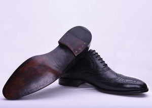 BESPOKESTORES Clothing, Shoes & Accessories:Men's Shoes:Boots Beautiful Pure Black Wing Tip Lace Up Brogue Leather Shoes