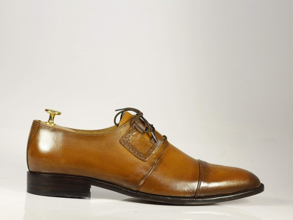 BESPOKESTORES Clothing, Shoes & Accessories:Men's Shoes:Boots Beautiful Tan Cap Toe Brogue Lace Up Leather Shoes