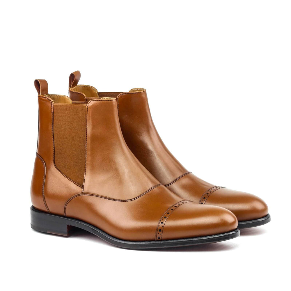 BESPOKESTORES Clothing, Shoes & Accessories:Men's Shoes:Boots Beautiful Tan Patent Leather Ankle High Chelsea Boot For Men