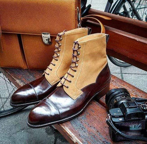 BESPOKESTORES Clothing, Shoes & Accessories:Men's Shoes:Boots Beige & Cordovan Ankle High Lace Up Leather Suede Boot