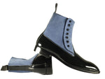 Bespoke Blue & Black Button Top Leather & Suede Dress Boots For Men's