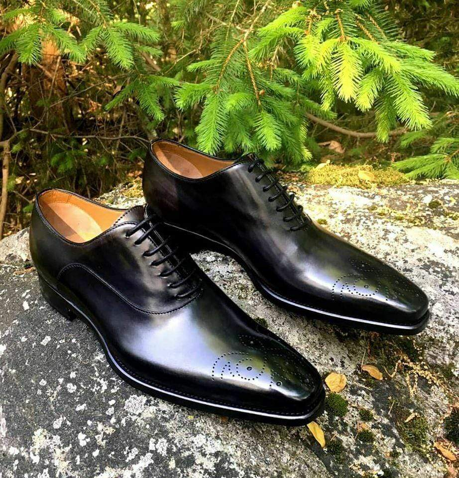 BESPOKESTORES Clothing, Shoes & Accessories:Men's Shoes:Boots Black Brogue Lace Up Patent Leather Shoes For Men's foot Wear