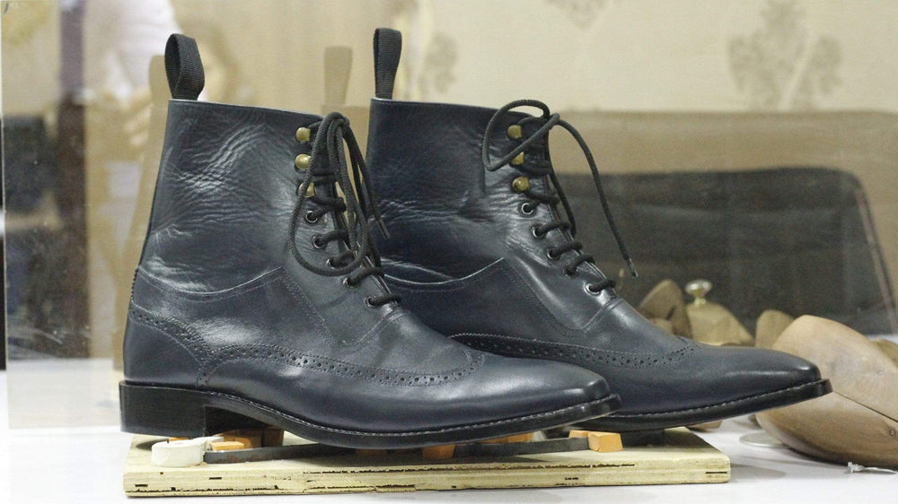 BESPOKESTORES Clothing, Shoes & Accessories:Men's Shoes:Boots Black Brogue Wing Tip Ankle High Leather Boots For Men's