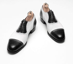 BESPOKESTORES Clothing, Shoes & Accessories:Men's Shoes:Boots Black & White Cap Toe Brogue Lace Up Leather Shoes For Men